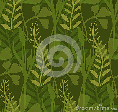Seamless Texture With Transparent Plants And Herbs Cartoon Vector