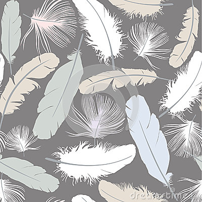 Seamless texture with white feathers