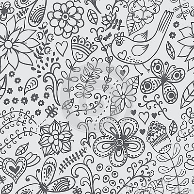 Free Seamless Texture With Flowers And Birds. Endless Floral Pattern. Royalty Free Stock Photography - 39460707