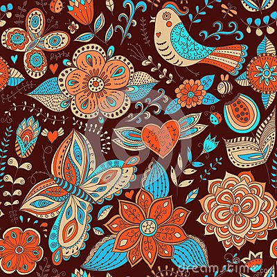 Free Seamless Texture With Flowers And Birds. Endless Floral Pattern. Stock Photos - 50395823