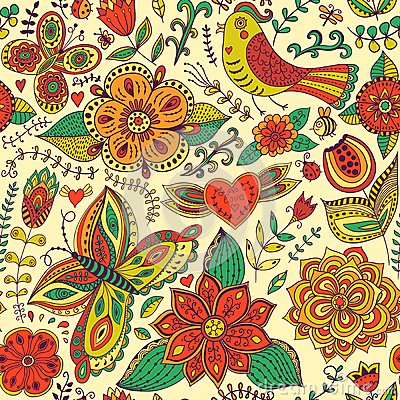 Free Seamless Texture With Flowers And Birds. Endless Floral Pattern. Royalty Free Stock Photo - 50396075