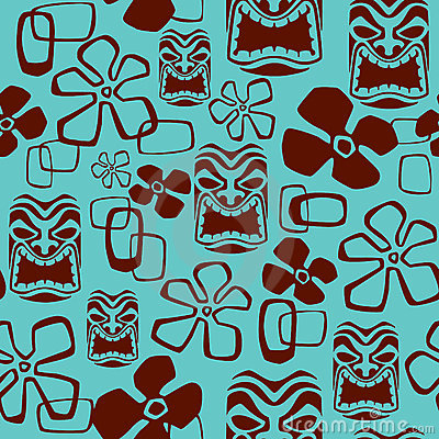 Seamless Tiki Mask Pattern