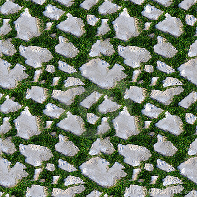 Seamless Tile Pattern Of Grass And Rock Royalty Free Stock