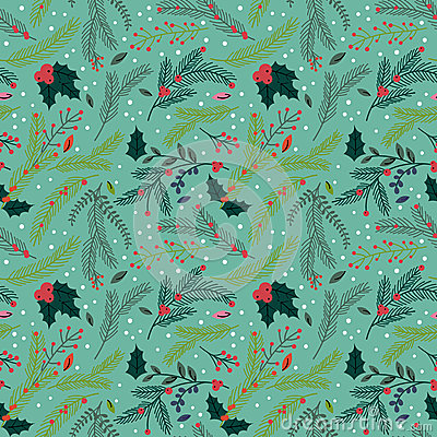 Free Seamless Tileable Christmas Holiday Floral Background Pattern Stock Images - 45732324