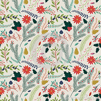 Free Seamless Tileable Christmas Holiday Floral Background Pattern Stock Photo - 45732360