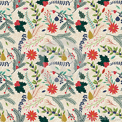 Free Seamless Tileable Christmas Holiday Floral Background Pattern Royalty Free Stock Image - 45732406