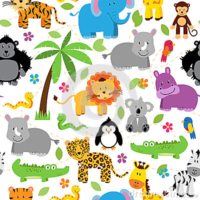 Free Seamless, Tileable Jungle Animal Themed Background Patterns Royalty Free Stock Photography - 54686287