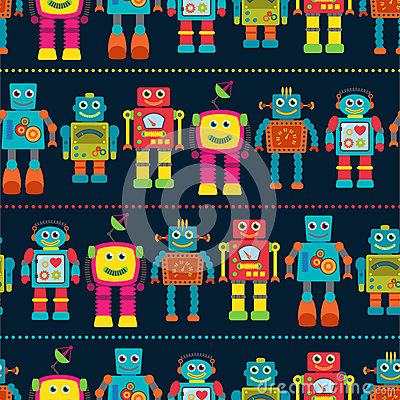 Free Seamless Tileable Vector Background Pattern With Cute Robots Stock Photography - 41272102
