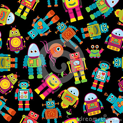 Free Seamless Tileable Vector Background Pattern With Cute Robots Royalty Free Stock Photography - 41272447
