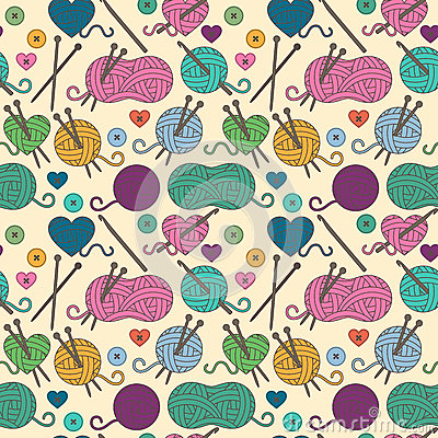 Free Seamless, Tileable Vector Background With Yarn, Knitting Needles Stock Photography - 77513232