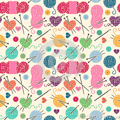 Free Seamless, Tileable Vector Background With Yarn, Knitting Needles Royalty Free Stock Photos - 77513728
