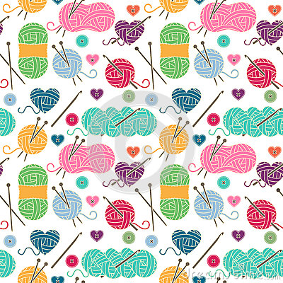 Free Seamless, Tileable Vector Background With Yarn, Knitting Needles Royalty Free Stock Images - 77513789