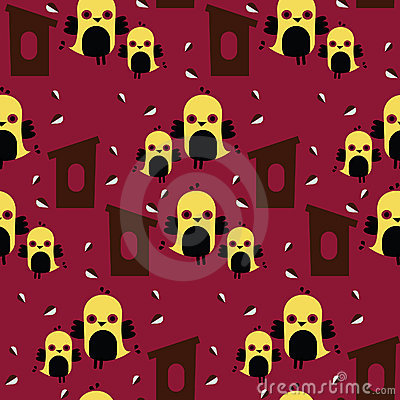 Seamless tiled pattern of birds