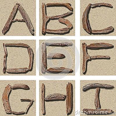 Seamless Tiling Driftwood Alphabet A - I