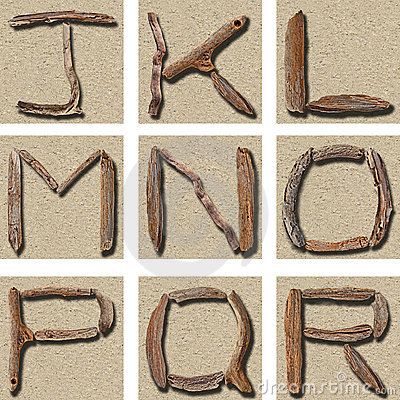 Free Seamless Tiling Driftwood Alphabet J - R Stock Photo - 16881160