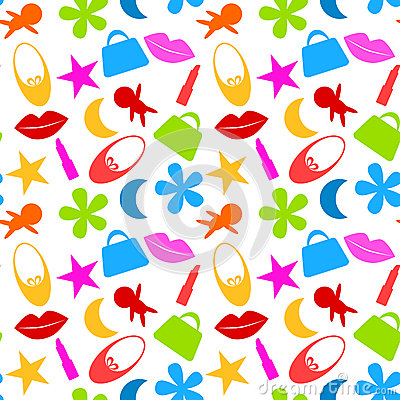 Free Seamless Toy Girl Icons Pattern Stock Image - 36074121