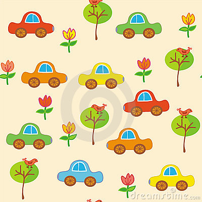 Seamless transport cartoon pattern with cars