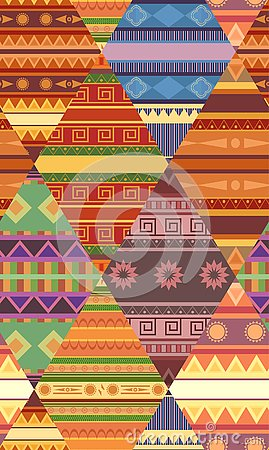 Free Seamless Tribal Pattern With Native Patterns. Patchwork Blanket. Vector Texture Stock Image - 133443381