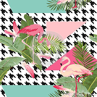 Free Seamless Tropical Flowers And Flamingo Summer Geometric Pattern, Graphic Background, Exotic Floral Wallpaper Or Card Royalty Free Stock Image - 101828186