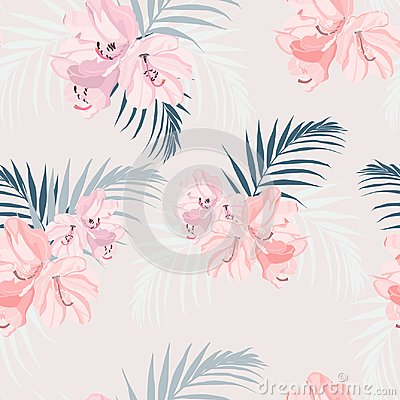 Free Seamless Tropical Vector Pattern With Paradise Pink Rhododendron Flowers And Exotic Palm Leaves On Tender Peach Background. Stock Images - 122059534