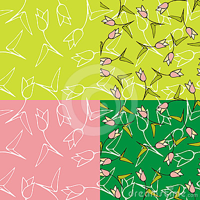 Seamless tulips backgrounds