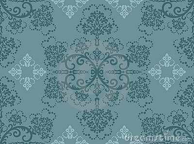 Seamless turquoise floral wallpaper