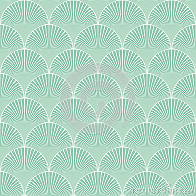 Free Seamless Turquoise Japanese Art Deco Floral Waves Pattern Vector Royalty Free Stock Images - 53362679