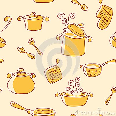 Seamless utensil pattern.