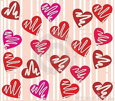 Seamless valentine day heart background in vector.