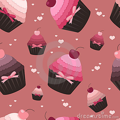 Seamless valentine pattern with cupcakes