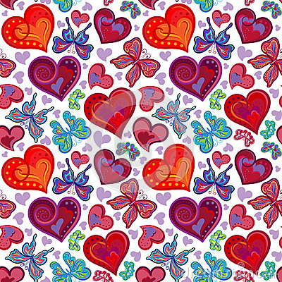 Free Seamless Valentine Pattern With Colorful Vintage Red And Blue Butterflies, Flowers, Hearts. Vector Illustration Stock Photography - 63790052