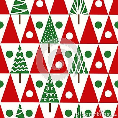 Free Seamless Vector Christmas Pattern Christmas Trees Winter Geomet Royalty Free Stock Photos - 48058178