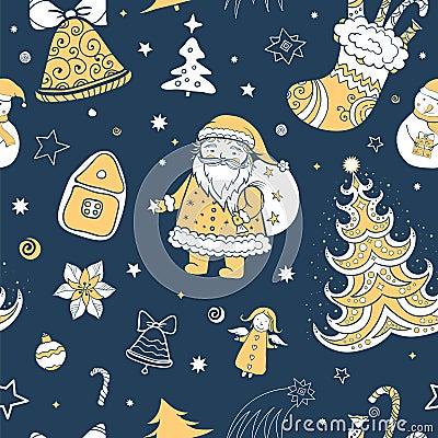 Seamless vector christmas pattern Vector Illustration