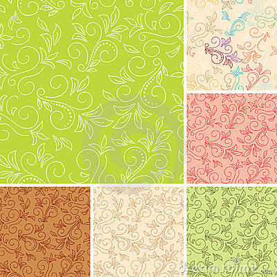Seamless vector color patterns  with flora