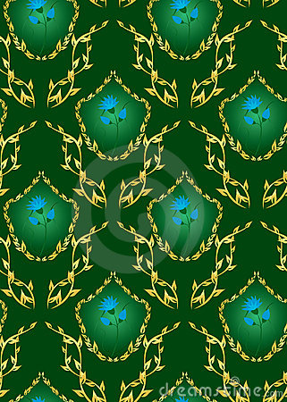 Seamless vector dark green floral texture