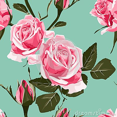 Free Seamless Vector Design Pattern Arranged From Pink Roses. Royalty Free Stock Photo - 112419515