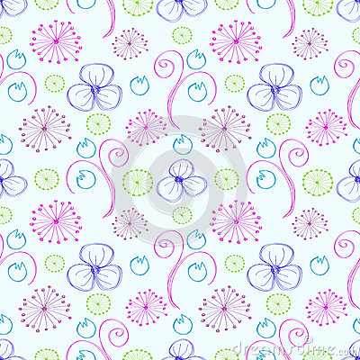 Free Seamless Vector Floral Pattern. Colorful Hand Drawn Background With Different Flowers And Leaves Royalty Free Stock Image - 72209526
