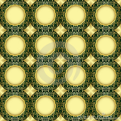 Seamless vector green and gold pattern