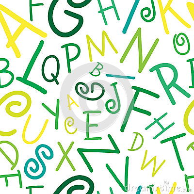 Seamless vector green on white alphabet letters pa