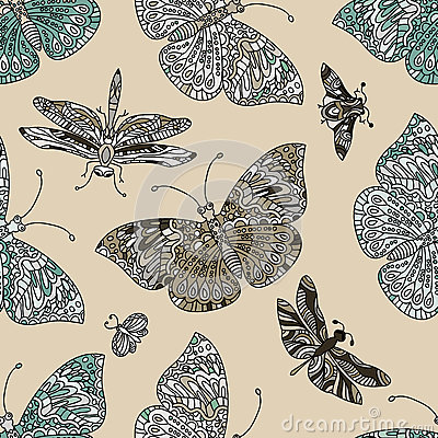 Seamless vector hand drawn pattern with fantasy butterflies in modern style. Vector Illustration