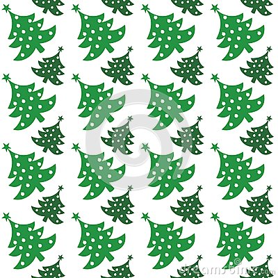 Seamless vector pattern of christmas tree