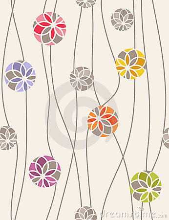 Seamless vector pattern of floral medallions.