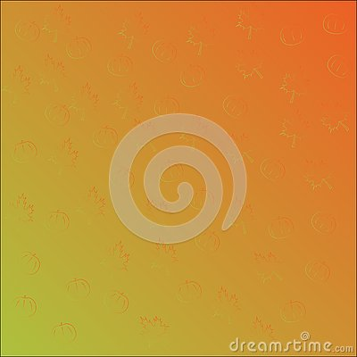 Seamless vector pattern with orange pumpkins and maple leaves, gradient orange green. Vector Illustration