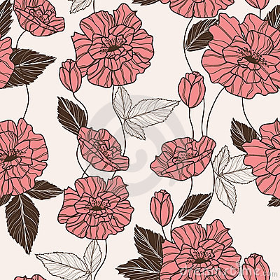 Seamless vector pattern with poppy flowers