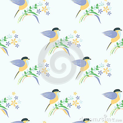 Free Seamless Vector Pattern With Animals. Symmetrical Background With Colorful Birds, Leaves And Flowers On The Light Backdrop Royalty Free Stock Images - 65610669