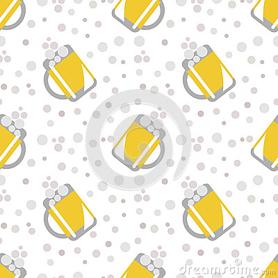 Free Seamless Vector Pattern With Closeup Beer Glasses And Bubbles On The White Background. Royalty Free Stock Image - 68304486