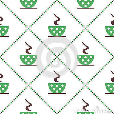 Free Seamless Vector Pattern With Closeup Green Coffee Cups With Dots And Grains On The White Background. Stock Images - 68304944