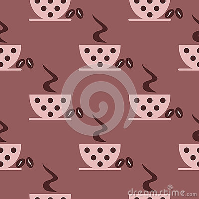 Free Seamless Vector Pattern With Closeup Pink Coffee Cups With Dots And Grains On The Brown Background. Royalty Free Stock Images - 68305079