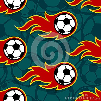 Free Seamless Vector Pattern With Football Soccer Ball Icons And Flam Royalty Free Stock Photos - 119953808
