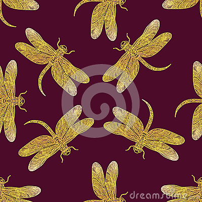 Free Seamless Vector Pattern With Golden Shiny Dragonfly Royalty Free Stock Photography - 73845497